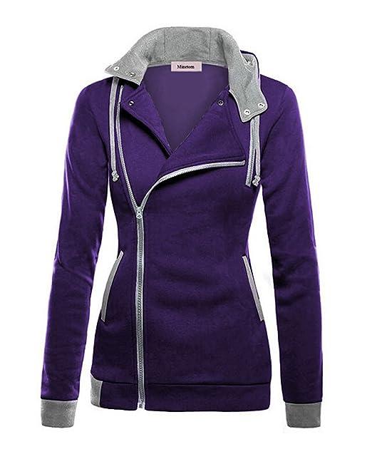 3bab36e06121c Minetom Mujeres Chaqueta Corta con Capucha Estilo Casual Jacket Sportswear  Morado ES 48  Amazon.es  Ropa y accesorios