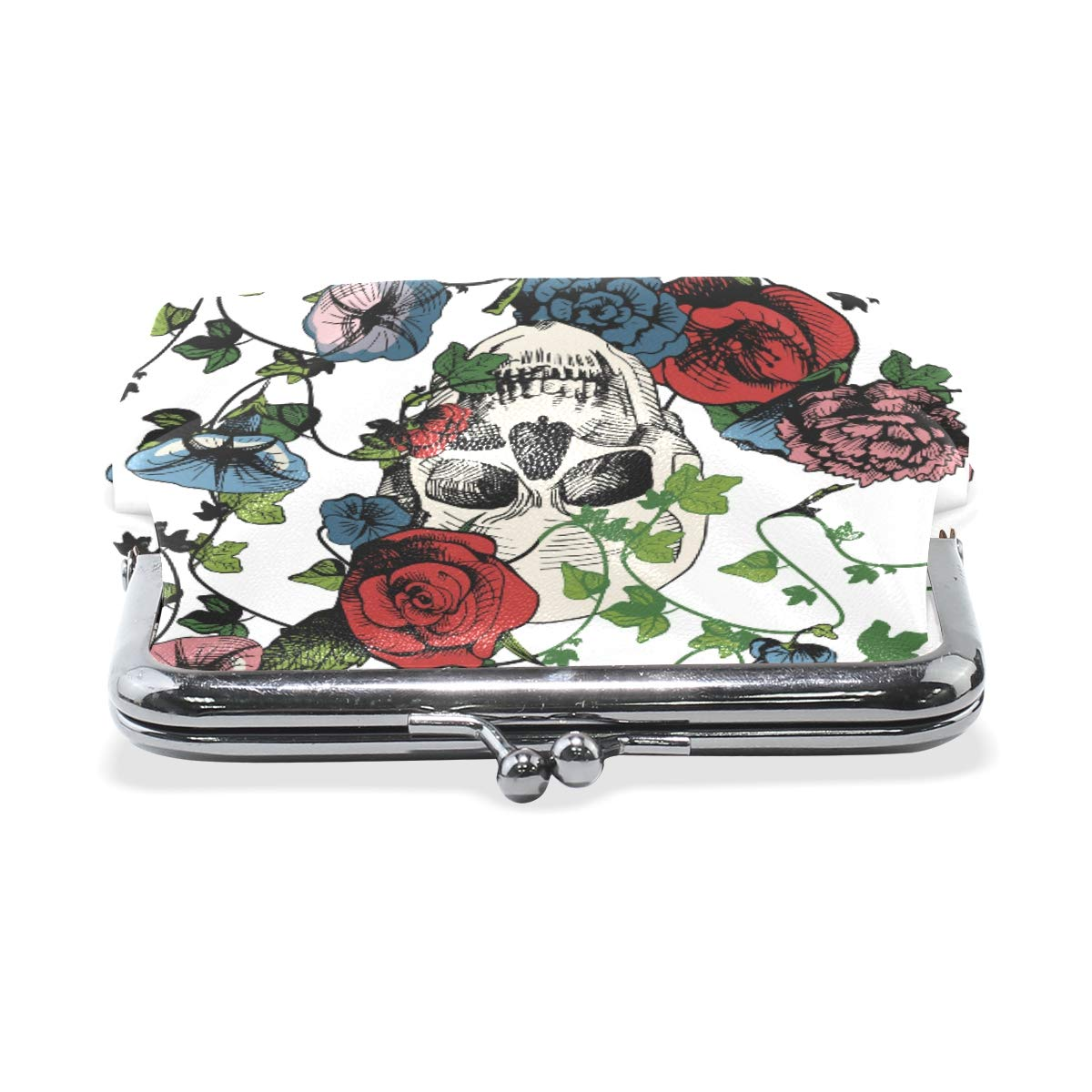 Fashion Womens Coin Purse Skull In Flowers Rose Vintage Pouch Kiss-lock Mini Purse Wallets