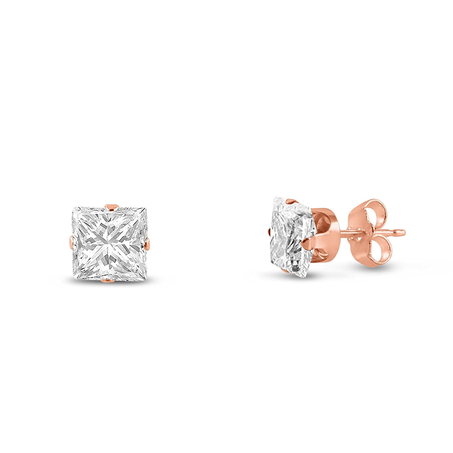 3-7mm Rose Gold Plated Silver Square Cut Clear CZ Stud Earring Set 5 Pairs