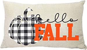 ZYCH Hello Fall Black and White Plaid Pumpkin Cotton Linen Square Throw Pillow Case Cushion Cover 12 x 20 Throw Pillow Covers (32)