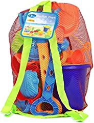 Click N Play 18Piece Beach Sand Toy Set, Bucket, Shovels, Rakes, Watering Can, Molds