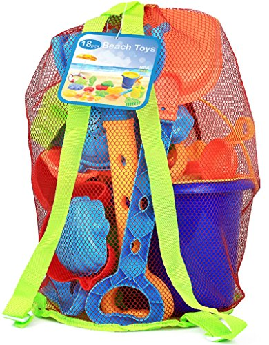 Click N' Play 18 Piece Beach Sand Toy Set, Bucket, Shovels, Rakes, Watering Can, Molds ()
