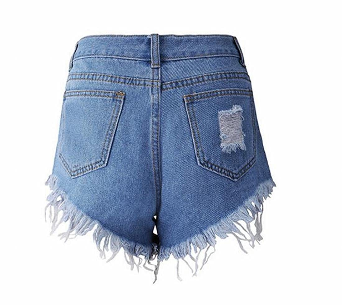 3bd8cbd2af7d Abetteric Women's Fashion Destroyed Denim Shorts Summer Hot Pants at Amazon Women's  Clothing store: