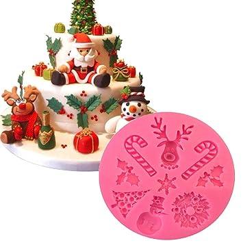 Witkey Árbol de Navidad muñeco de nieve Elk Pastel Molde de silicona ...