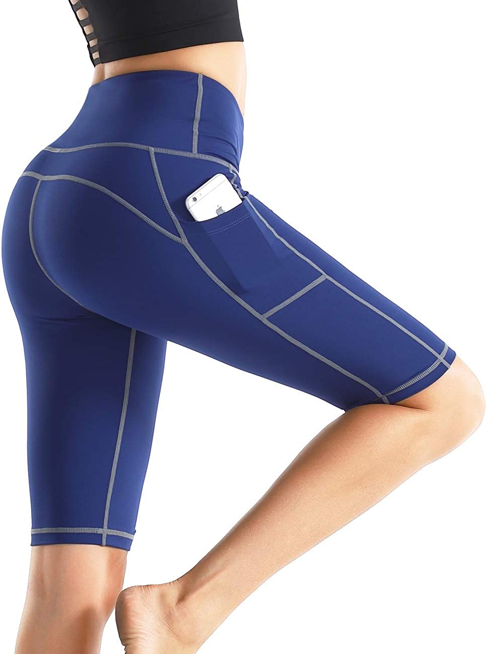 Rocorose Womens Shorts Tummy Control High Waist Butt Lifting Workout Biker Yoga Shorts with Side Pockets