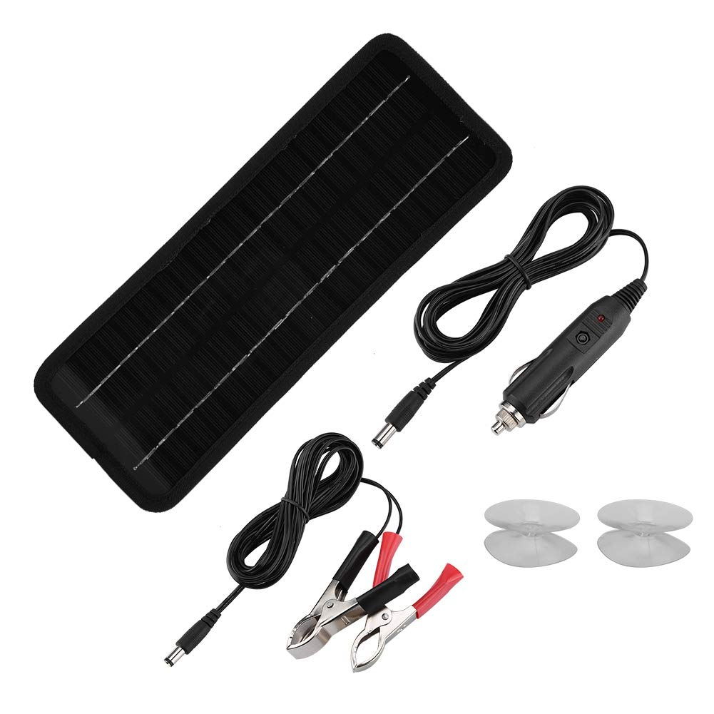 Yosoo- 12V 4.5W Portable Solar Panel, Power Supply Battery Environmental Protection Charger for Car Battery Laptop with Two Elastic Bands