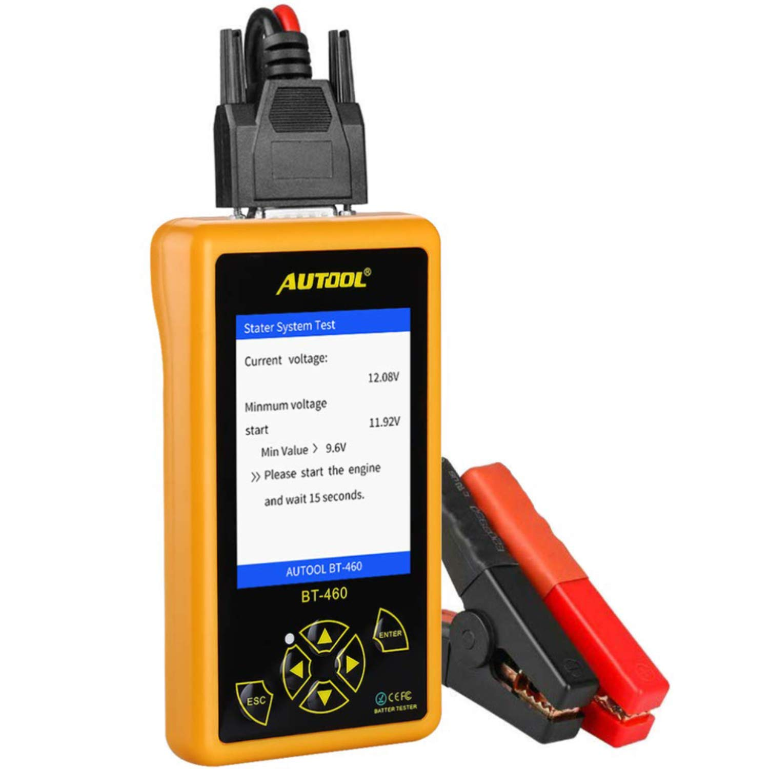AUTOOL BT460 Automotive Battery Tester Support 12V & 24V Cars, Motorcycle, SUVs, Minivans, Heavy Duty Trucks & Boats with TFT Colorful Display