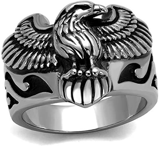 Stainless Steel 2 Color Black Enameled Butterfly Link Biker Ring