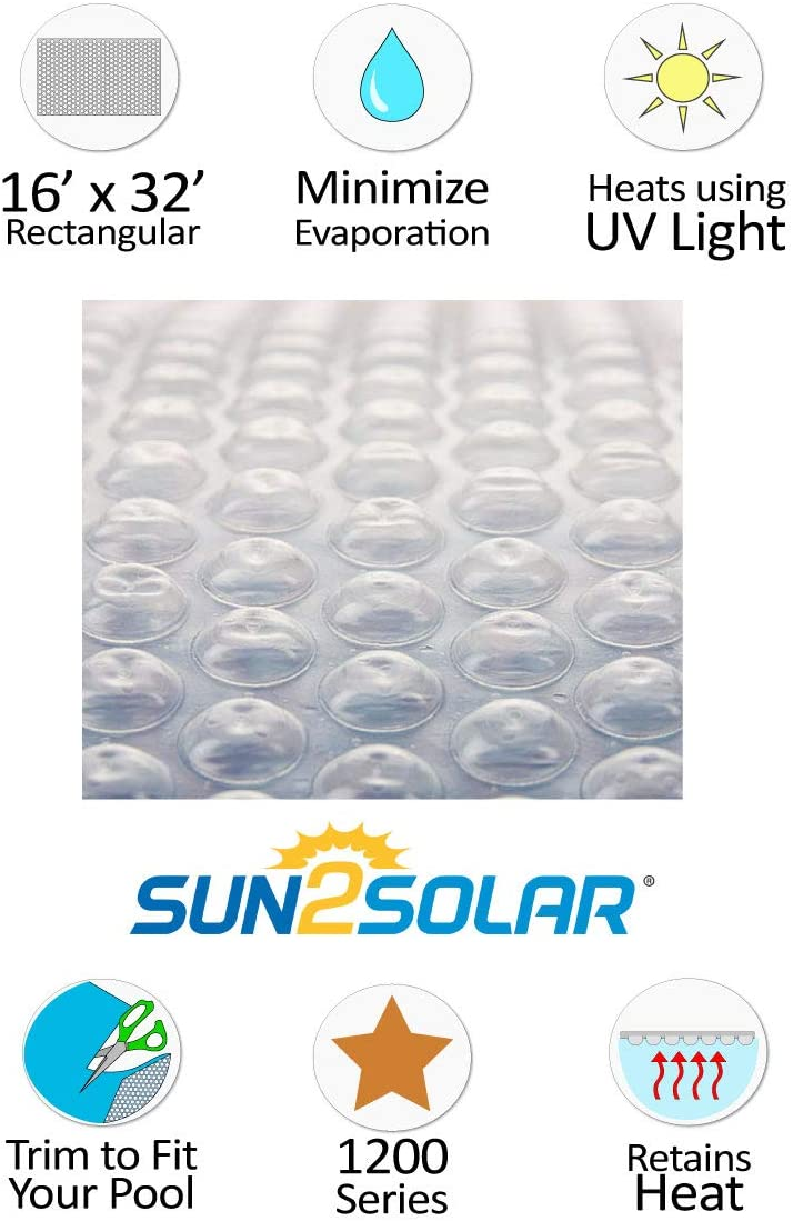 Sun2Solar 16 x 34 Rectangle Clear Swimming Pool Solar Blanket Cover 1200 Series
