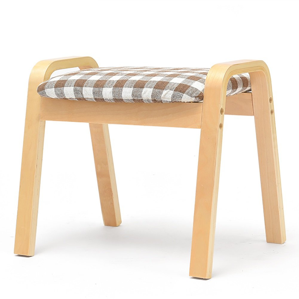 Sofa Footrest Birch Square Stool Household Stool Shoe Bench Living Room Coffee Table Stool Adult Bench (Color : Wood color, Size : A)