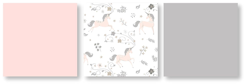 Sweet Jojo Designs 9 Piece Pink Grey and Gold Unicorn Baby Girl Crib Bedding Set with Bumper
