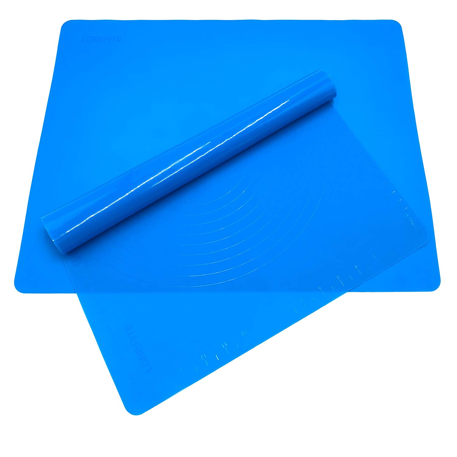 Silicone Baking Mats for Dough Rolling Pastry Fondant Mat Large Nonstick and Nonslip, Countertop Protector, Dining Table Mat and Placemat 20'' by 16''(Blue 2 Pack) LONGFITE