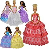 Dressed by Design Handmade barbie dress 6 pack satin lace princess wedding gown 12in fashion doll exact dresses shown in picture not random