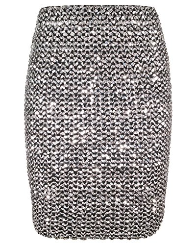 Womens Sexy Shining Glitter Sequin Mini Skirt Elastic Bandage Bodycon Hobble Pencil Skirts (One Size, (Silver Sequin Skirt)