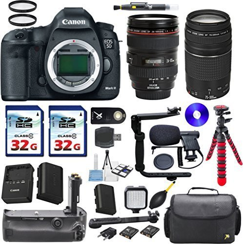 Canon EOS 5D Mark III 22.3 MP Full Frame CMOS Digital SLR Camera with Canon EF 24-105mm f/4 L IS USM Lens + Canon EF 75-300mm f/4-5.6 III + 2pc Commander 32GB Memory Cards + Extra Battery + Power Grip - 6pc Multi Memory Card Holder