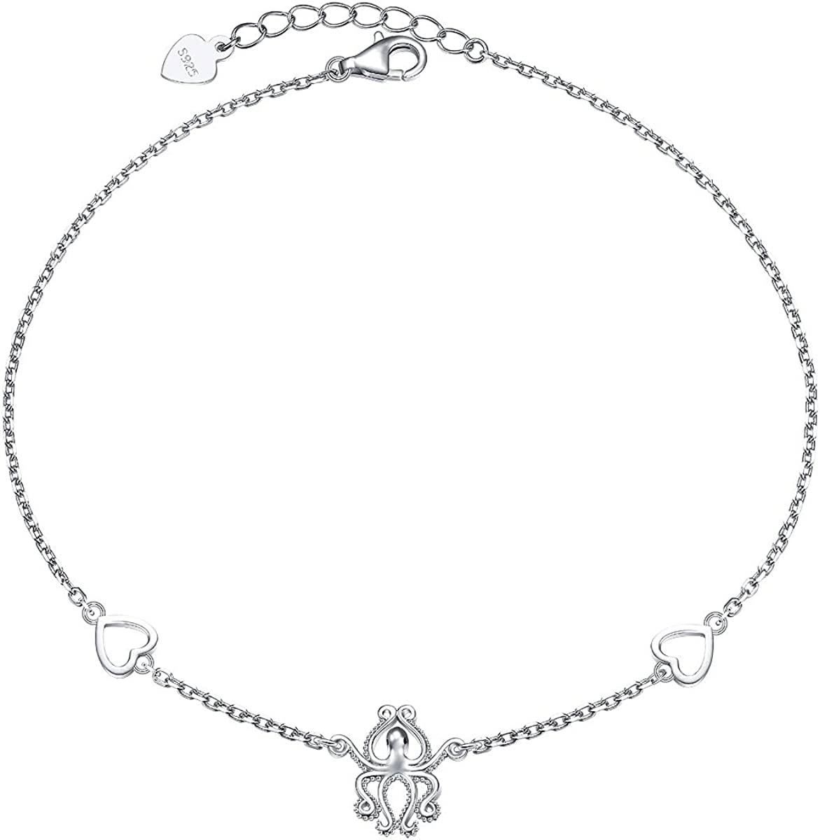 New 0.925 Sterling Silver Octopus Aquatic Animal Pendant Necklace