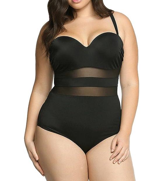 46305fbd721b8 Eternatastic Women's Summer One-piece Monokini Swimsuit Swimwear Plus Size  Black XL