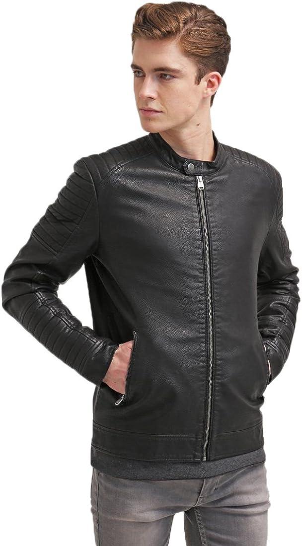 Mens Leather Jacket Slim Fit Biker Motorcycle Genuine Lambskin Jacket Coat T1449