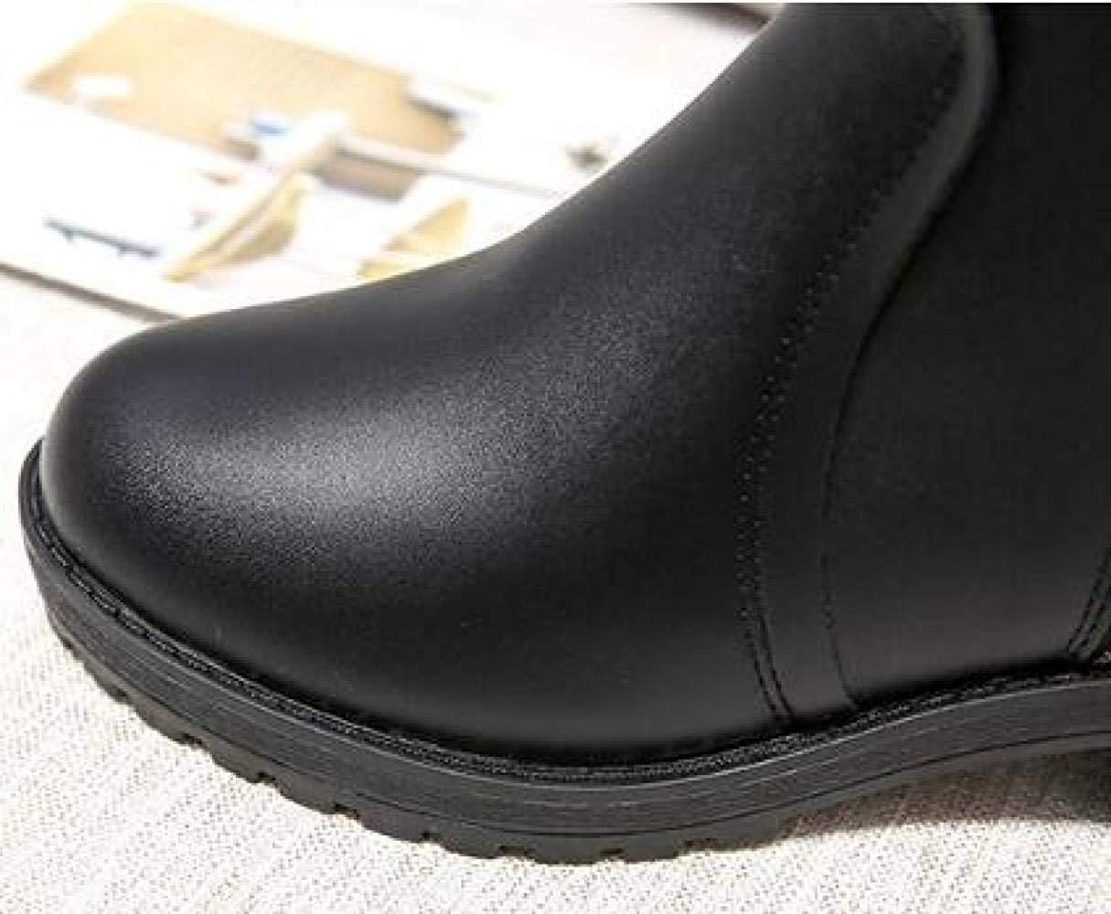 ZHRUI Weibliche Und Herbst Und Weibliche Winter Dicke Leder Reißverschluss Stiefel Baumwolle Schuhe (Farbe   1, Größe   35EU) 20307c