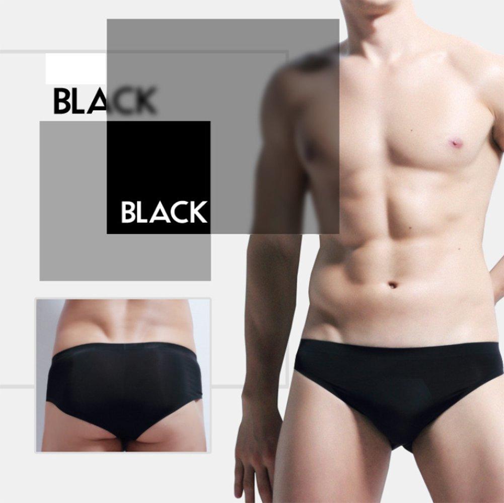 XXYY 2 PCS Men Ice Silk Underwear Seamless Transparent Breathable Briefs Pure Color Simple