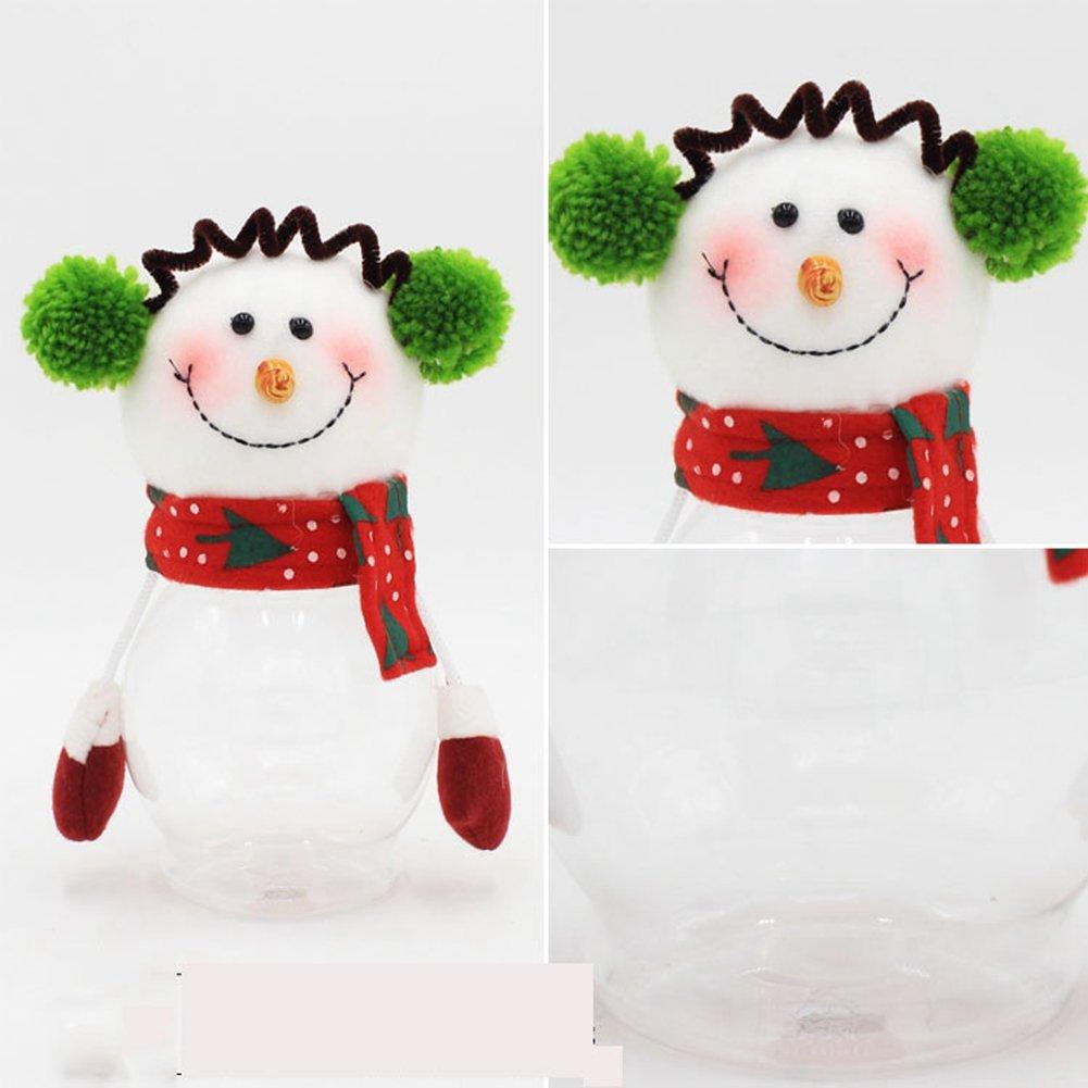 Meiyiu Santa Claus Christmas Round Candy Packaging PET Christmas Cookie/Candy Jar Snowman