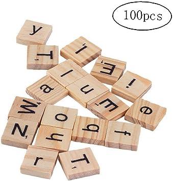 100 Piezas De Madera Del Alfabeto Scrabble Azulejos Del Cuadrado Del Alfabeto Letras De Molde Con Números Para La Artesanía: Amazon.es: Juguetes y juegos