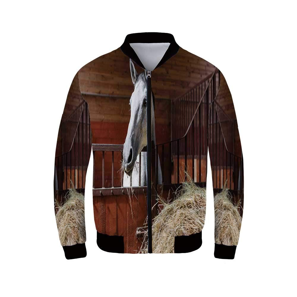 Horse Decor Men's Long Sleeve Jacket,Young Mare Eating Hay in Stable Rustic Barn Ranch House Decorative for Sportswear,L