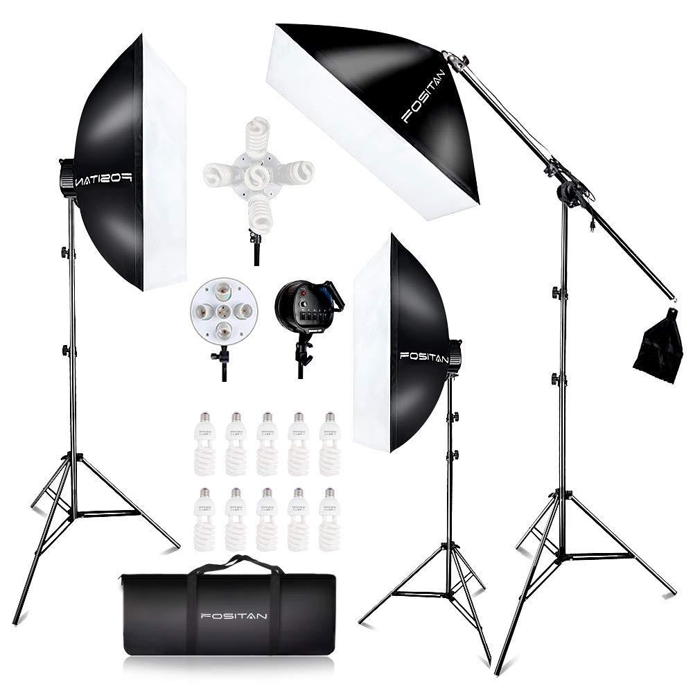 FOSITAN 3X 20'' x 28''Softbox Photography Lighting Kit, Boom Arm Headlight Lighting Kit with Sandbag, 2500W Continuous Lighting Kit with 2M Light Stand, Studio Lighting Kit with 11pcs