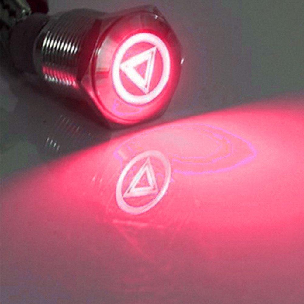 Supmico 12V Rosso lampada leggera auto del corno pulsante interruttore 16 millimetri raggio principale
