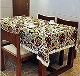 Tmalltide 35x35-Inch Linen& Cotton Rectangular Shabby Chic Dinner Summer & Picnic Tablecloth(sunflower)
