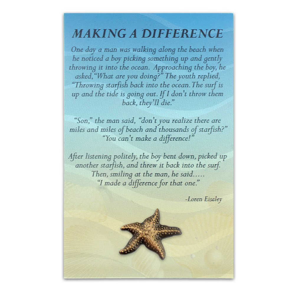 PinMart Starfish Lapel Pin on Starfish Story Card Make A Profound Difference Gift