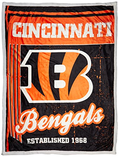The Northwest Company Officially Licensed NFL Cincinnati Bengals Old School Mink Sherpa Throw Blanket, 50