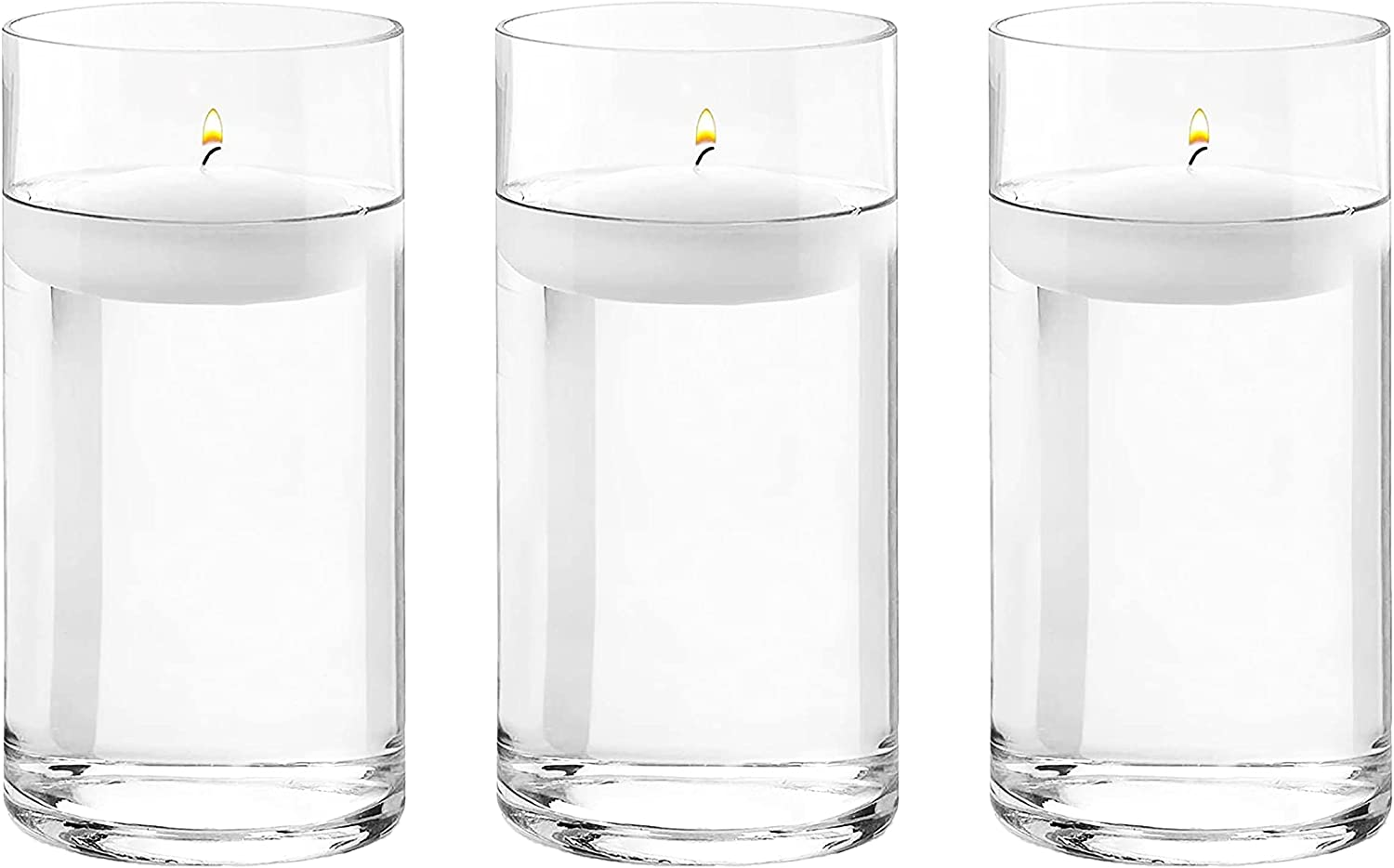 3 Pack 8 Inches Tall (20 cm) Clear Glass Cylinder vases,Centerpiece Flower Vase,Floating Candle Holder for Home & Garden Decor, Wedding, Party.