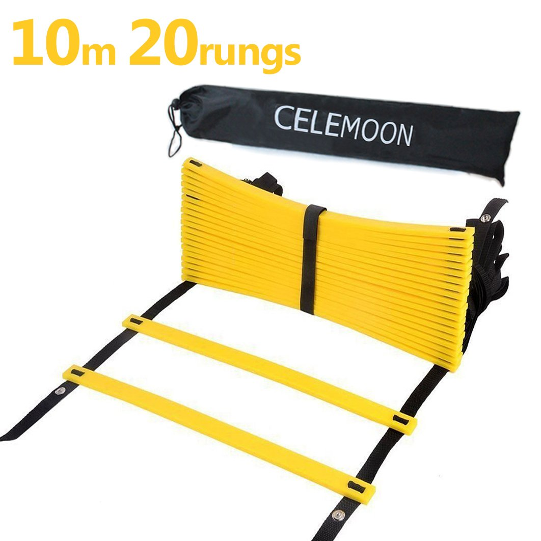 CELEMOON Upgraded Material 20-Rungs Agility Speed Training Ladder + Black Carry Case, with Connecting Snap, Ideal for Soccer, Football, Fitness, Feet Training, Yellow by CELEMOON