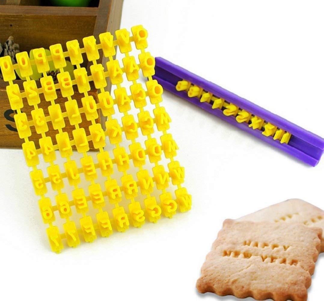 Set von 72Stück Alphabet Buchstaben & Zahlen Keks Stempel Formstanzer Cutter Fondant DIY Werkzeug Somtis