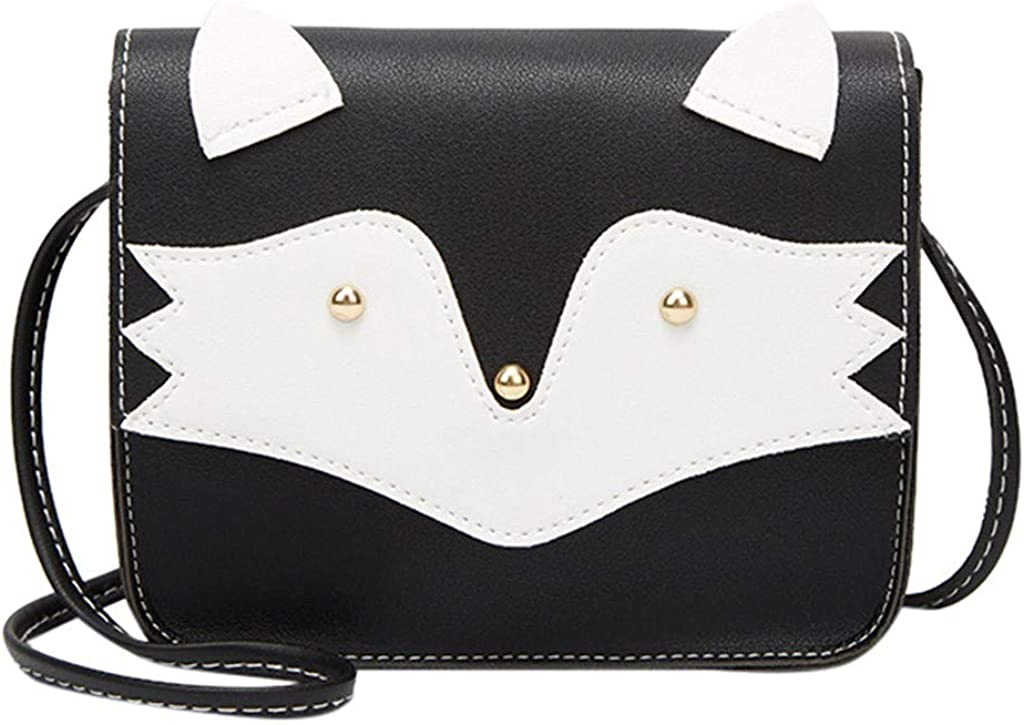 Outique Fashion Lady Shoulders Small Backpack Letter Purse Mobile Phone Messenger Bag with Fox pattern