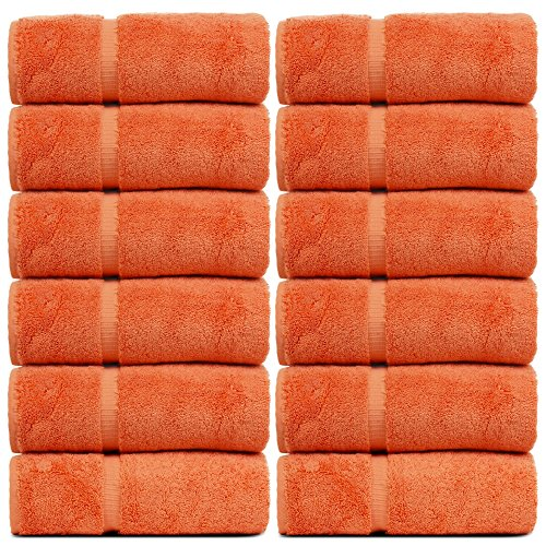 Bare Cotton Luxury Hotel & Spa Towel Turkish Wash Cloths Dobby Border,Coral, Set of 12 (Washcloths Orange)