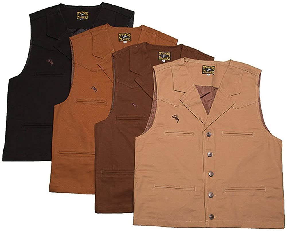 Men's Steampunk Clothing, Costumes, Fashion Bronco Canvas Vest $40.39 AT vintagedancer.com
