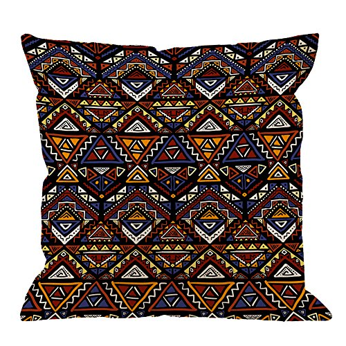 HGOD DESIGNS Tribal Pillow Covers,Decorative Throw Pillow Bright Colored with Tribal Aztec Motives In Boho Chic Style Pillow cases Cotton Linen Square Cushion Covers For Home Sofa couch 18x18 inch