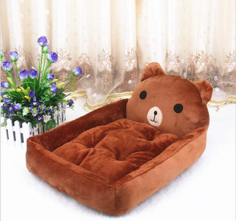 F 80X60CM F 80X60CM GZDXHN Kennel Cute Cartoon Small Medium And Large Dogs Autumn And Winter Warm Pet Nest Dog Bed Cat Litter=