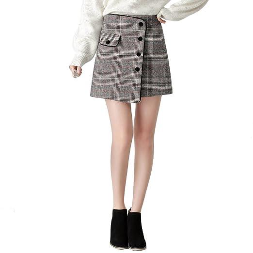 TSINYG Falda a cuadros elegante de la cintura alta de las mujeres ...