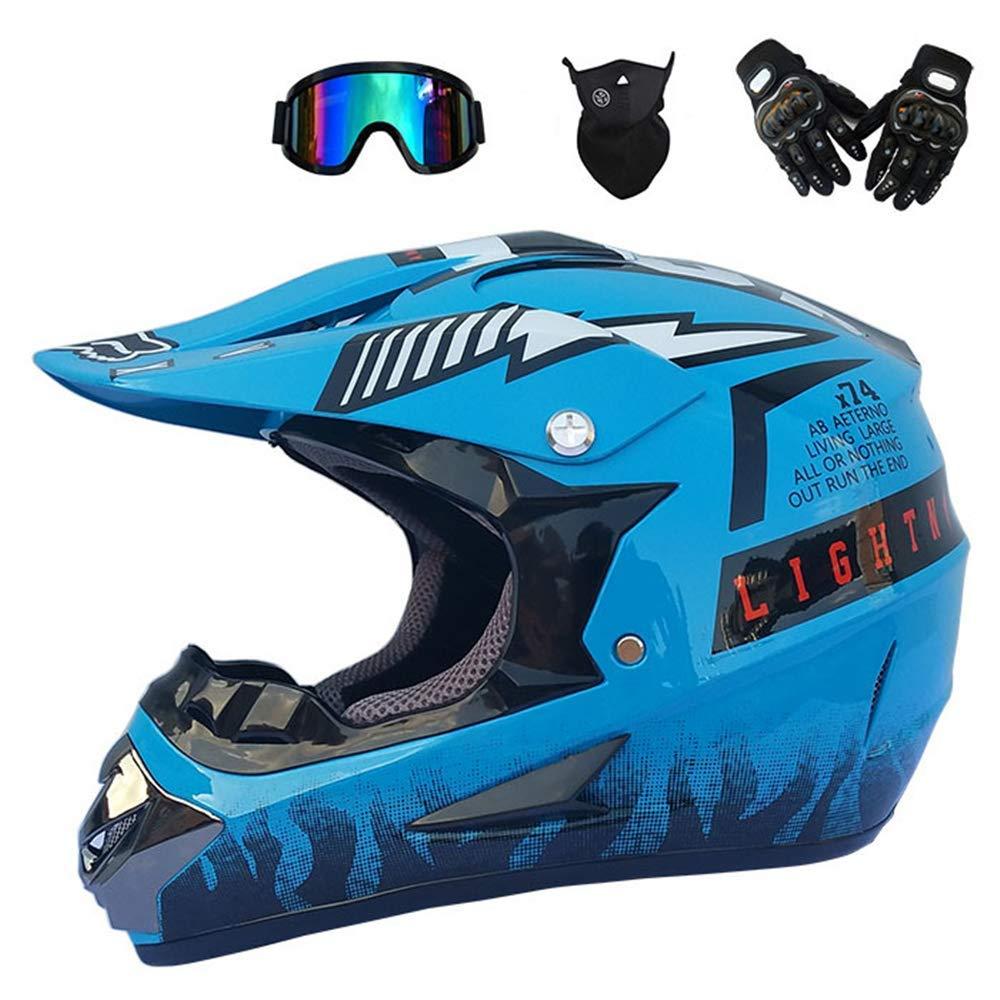 Casque de motocross Adulte pour casque de route unisexe Casque de moto Casque Cross Kit casque dur pour casque de VTT pour hommes Protection de la s/écurit/é des dames avec des gants Masque Masques