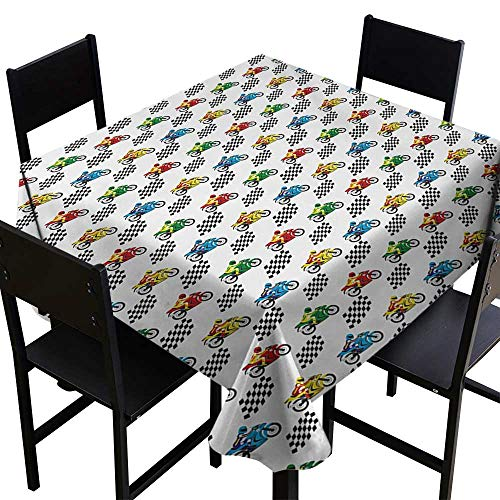 (Motorcycle Printed Tablecloth Sports Bike with Racing Riders Among Black and White Chequered Flags Competition 36 inch Square Tablecloth Multicolor)
