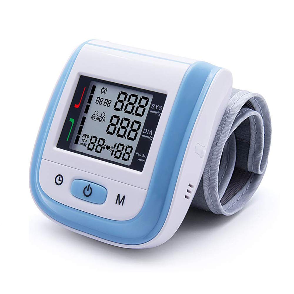 Blood Pressure Monitor Cuff Wrist Digital BP Monitor Clinically Accurate Fast Reading with Large LCD Display – FDA Approved Essential for Home Care Blue