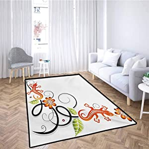 Tribal Large Area Mat Small Baby Lizard Flowers and Leaves with Oriental Lines Print Children Play Rugs Orange Green Black White 5x8 Feet