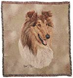 Pure Country 2350-LS Rough Collie II Pet Blanket, Canine on Beige Background, 54 by 54-Inch