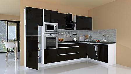 respekta Winkelküche Cocina Pequeña Cocina Cocina Forma L Cocina Cocina sin Tiradores Blanco, Negro Alto Brillo 345x172 CM: Amazon.es: Hogar