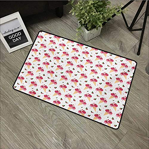 Floor mat W16 x L24 INCH Ice Cream,Childish Pattern Melting Cranberry Ice Cream Cones Dripping Cherries Stars,Peach Pink Green Easy to Clean, Easy to fold,Non-Slip Door Mat Carpet