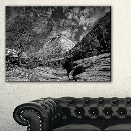 Designart Layers of Red Rock Gray with Clouds Landscape Art Canvas Print