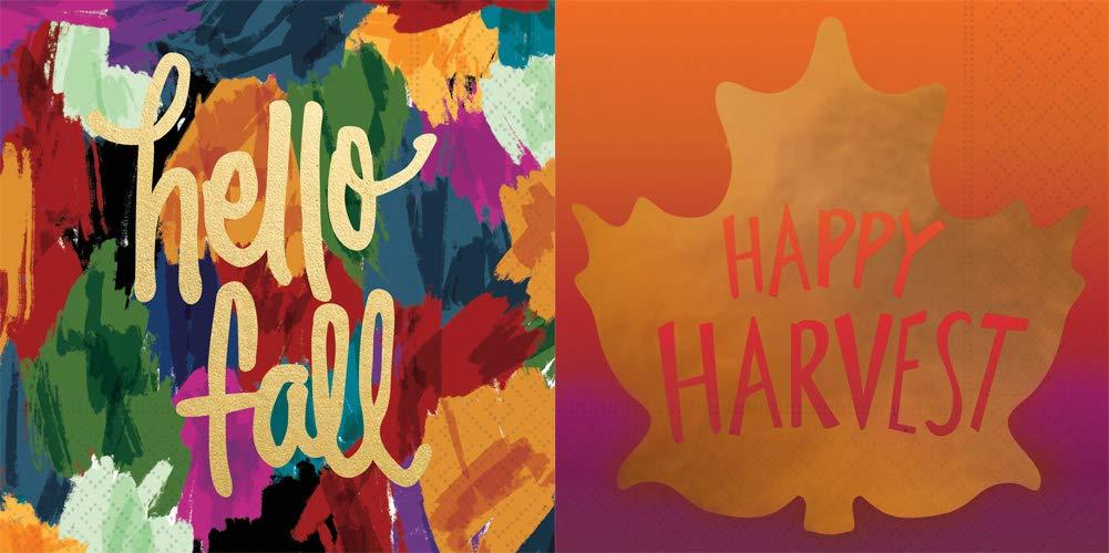 Design Design Cocktail Napkins, Bundle of 2 Packs (Hello Fall & Happy Harvest, 32 Napkins) by Design Design